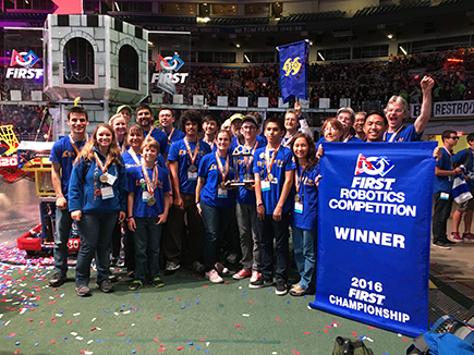 FIRST Team 330 – The Beach Bots – is a Hermosa Beach, California based robotics team supported by a group of Boeing mentors and funded through a series of Boeing grants that help cover the cost of the team's registration fee and part kits.